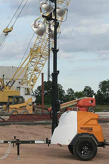 A light tower at a construction site. Coffman provides electric construction equipment to job sites across the country.